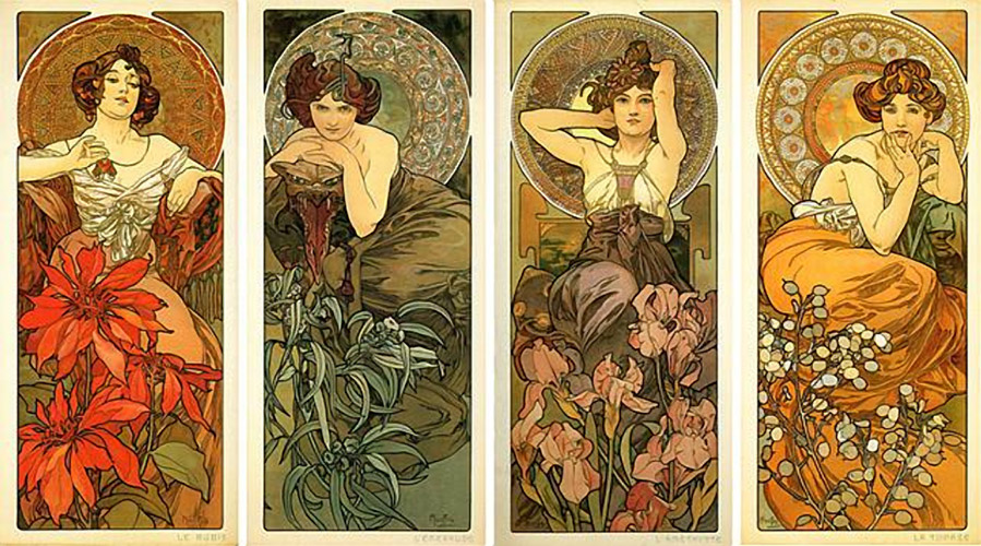 Mucha - Precious stones and flowers